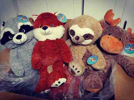 Stuffed animals in a box