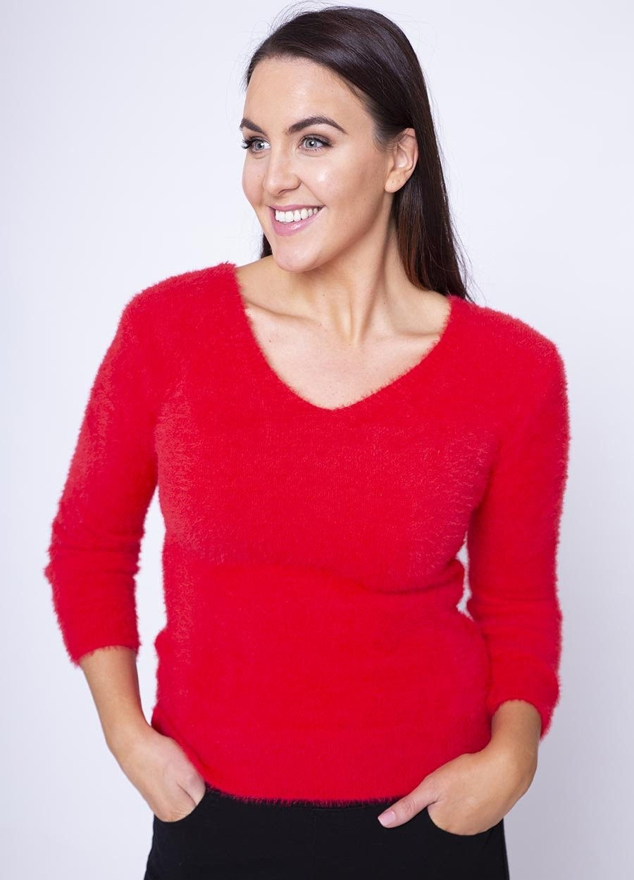 V Neck Fluffy Jumper in Red