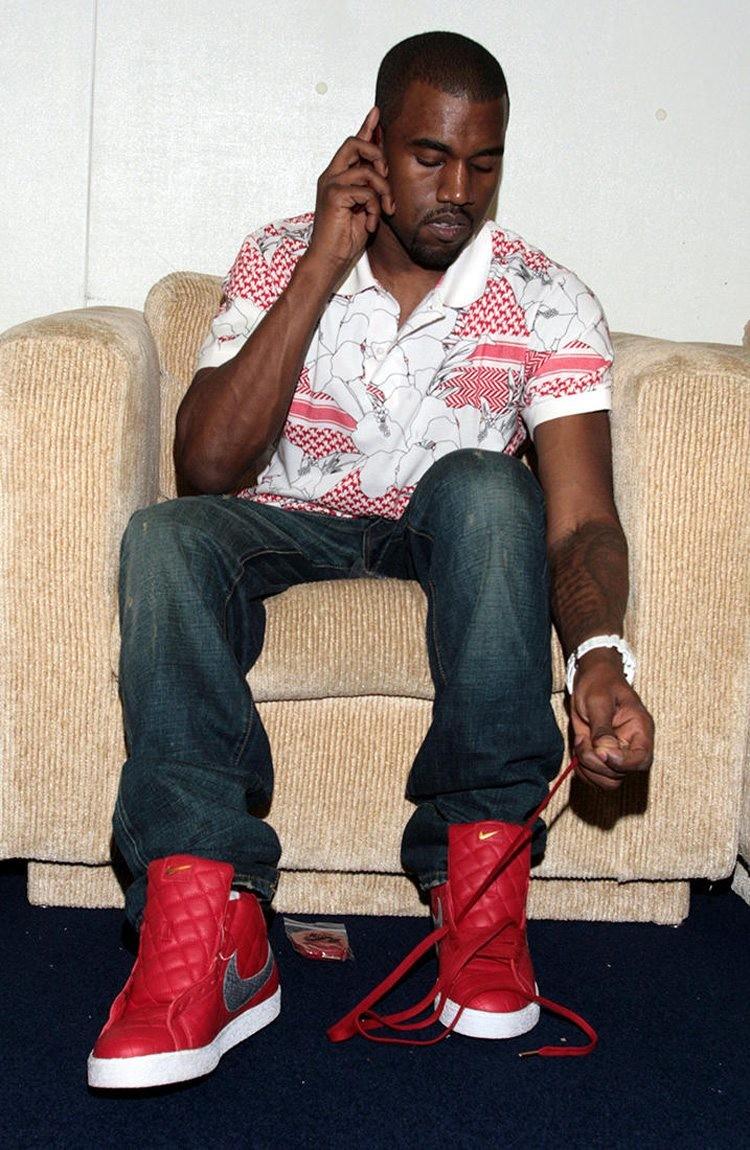 Kanye West in the Supreme x Nike Blazer