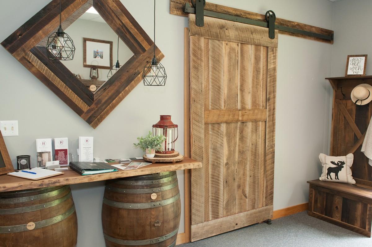 sliding rustic barn door with framed midrail