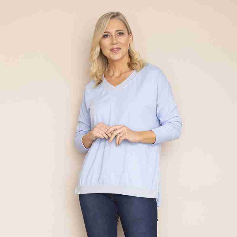 Sophie V Neck Top (Sky Blue)