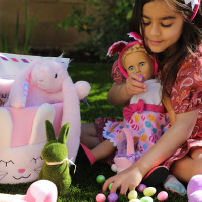 Club Eimmie Brand Ambassador with Easter Basket and Plush Bunny