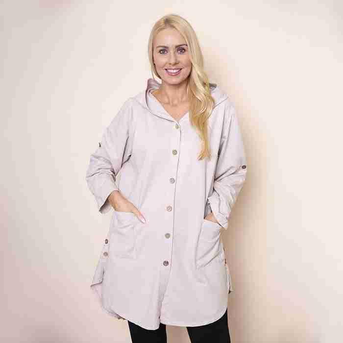 Button Sleeve Hoody Jersey Jacket(Beige)