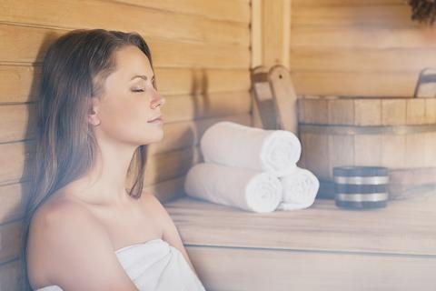 Image of a woman in a sauna