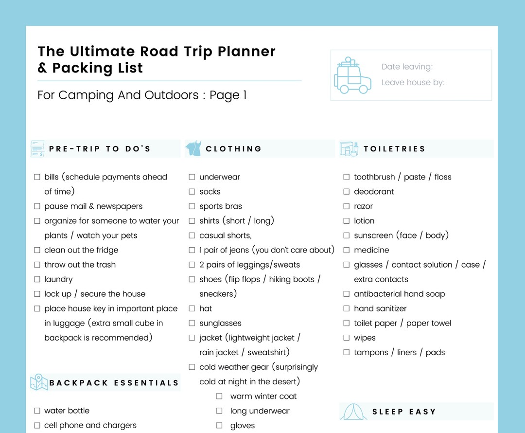the ultimate road trip planner and packing list for camping and outdoors free download