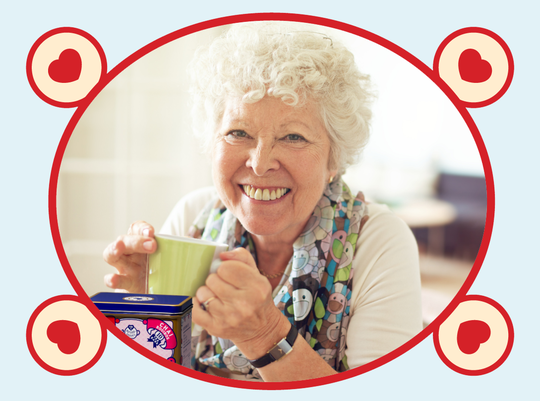 rooibos rocks granny drinking tea