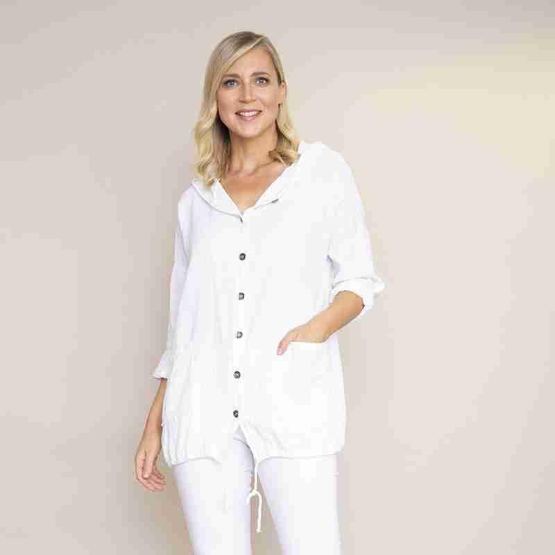 Crinkle Cotton Hoody Jacket(White)