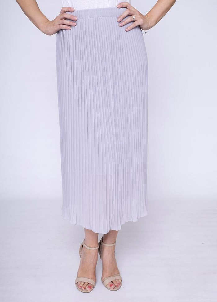 Long Pleat Skirt Grey