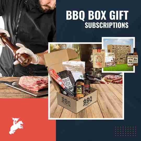 man seasoning meat, a box of BBQ gift set, jars of sauces