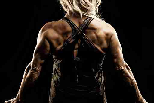 woman with muscular back and arms