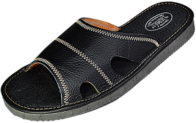 Galen Mens black leather slides - Reindeer leather
