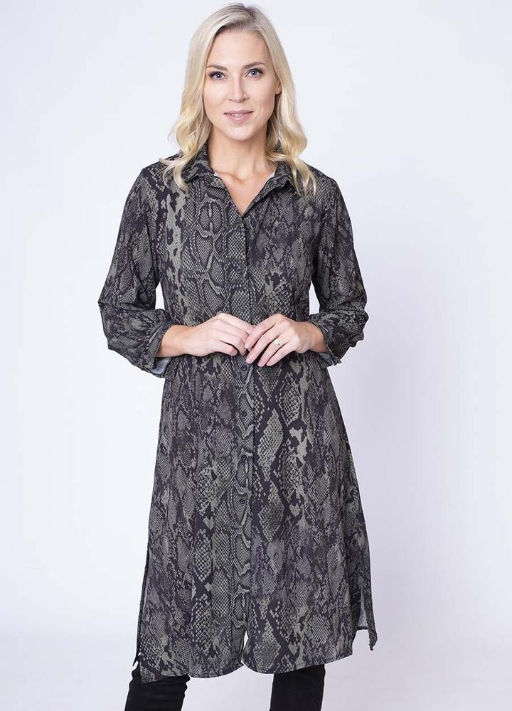 Snake Print Shirt Dress in Khaki