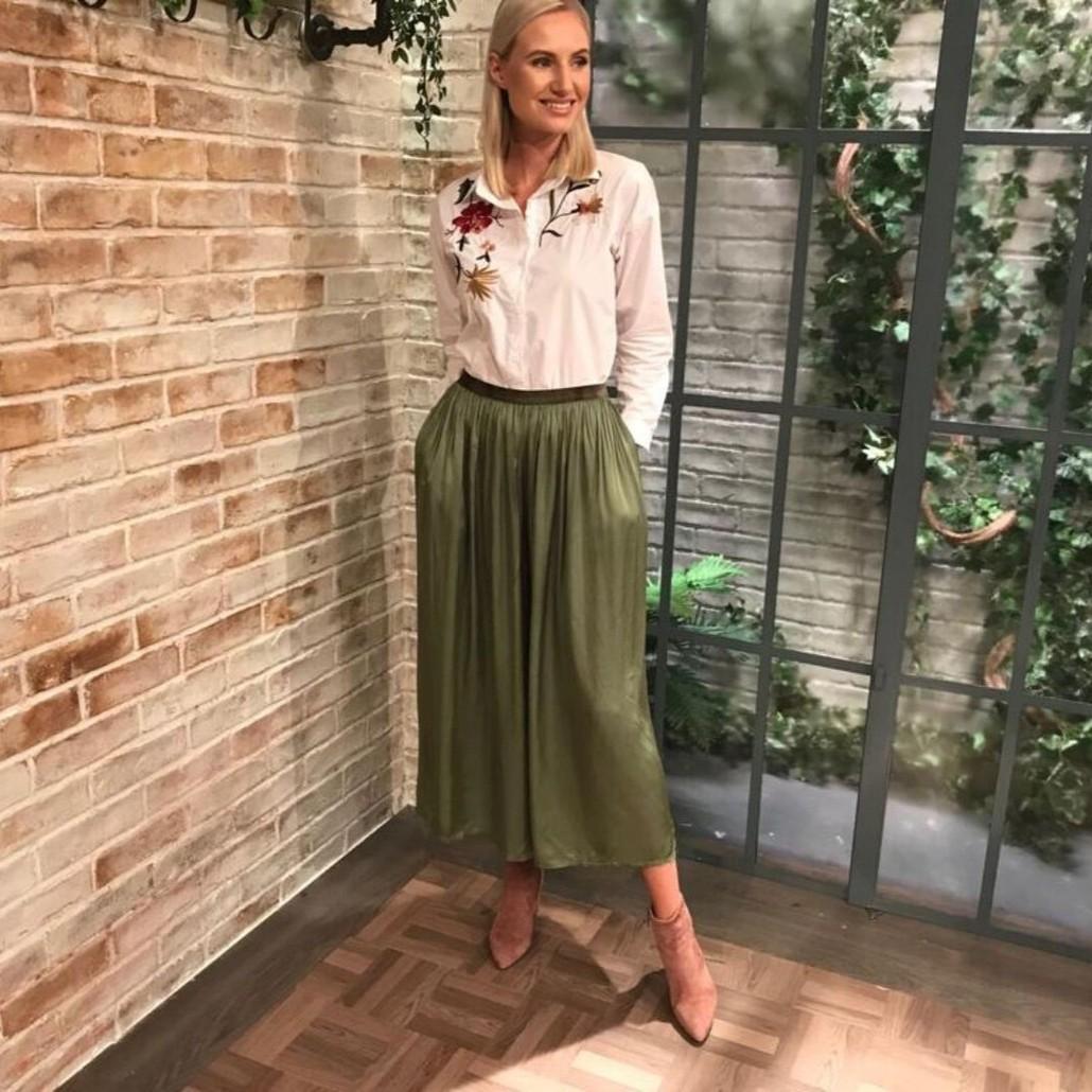 Sia Loose Elastic Waist Trousers Khaki