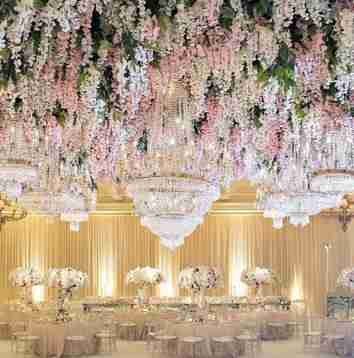 A ballroom decorated with flowers