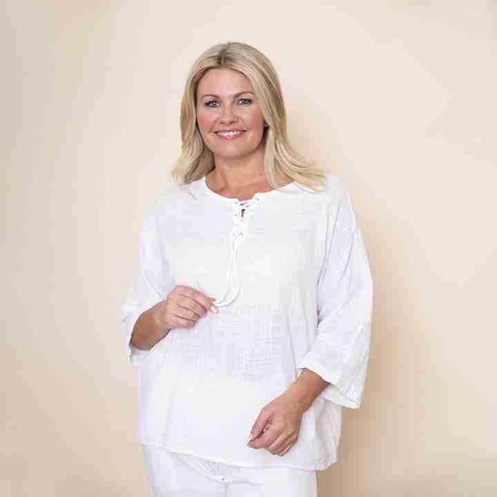 Tie Lace Linen Top(White)