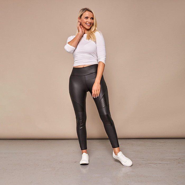 Wet Look Quilted Leggings (Black)€29.00
