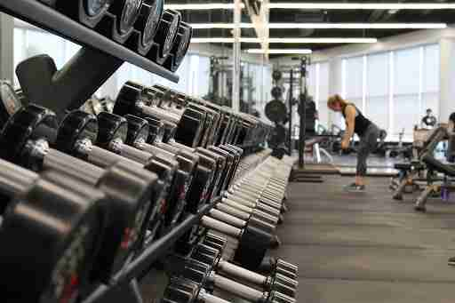 rack of dumbells at the gym
