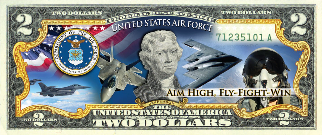 'Air Force' - Genuine Legal Tender U.S. $2 Bill