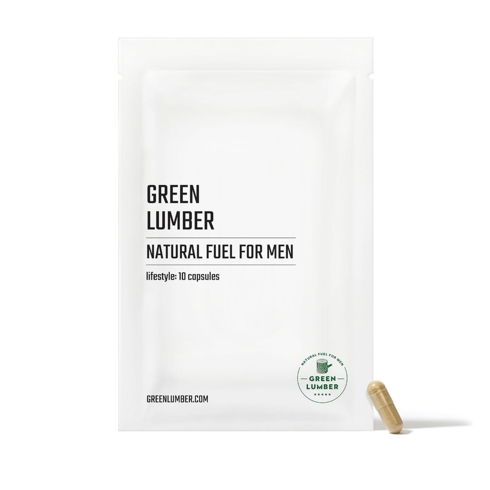 Green Lumber Natural Fuel For Men Lifestyle package front with capsule leaning against it