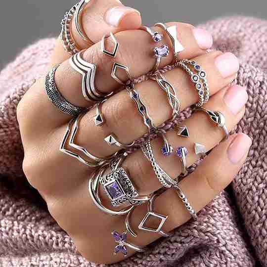 A variety of sterling silver rings