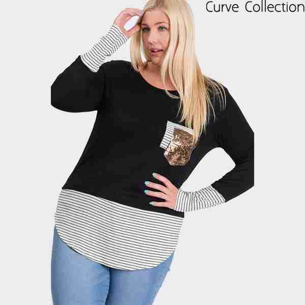 Curve Sule Striped Hem Pocket Top (Black)