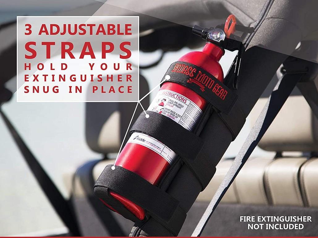 Badass Moto Adjustable Roll Bar Mounted Fire Extinguster Holder for Jeeps