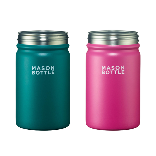 green and pink stainless steel mason jar