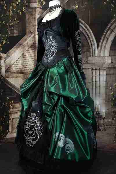 emerald green and black slytherin inspired victorian corset gown