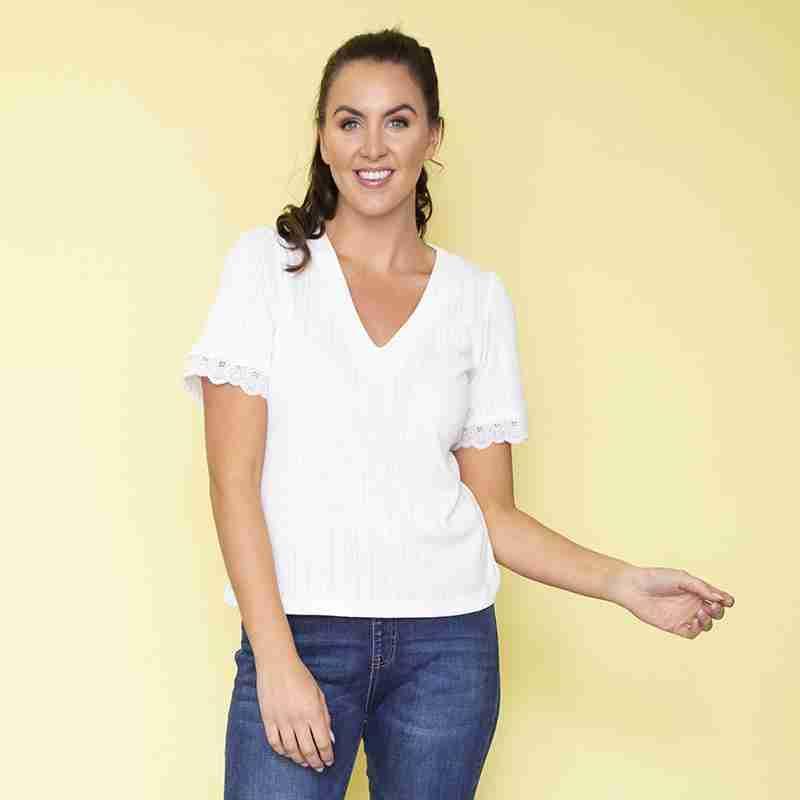 Chloe Ribbed T-Shirt (White)eam)