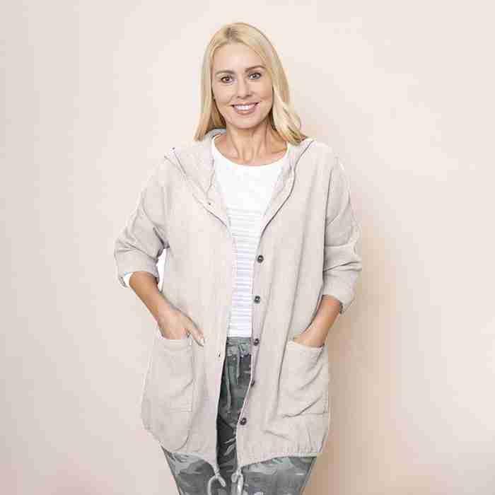 Crinkle Cotton Hoody Jacket (Beige)