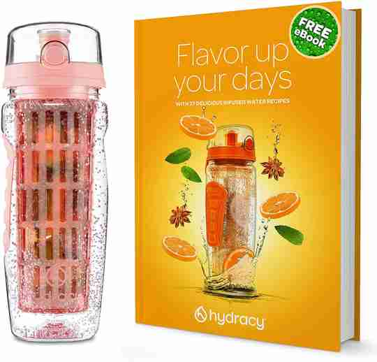 Infuser Water Bottle Original Rose Gold Recipes Ebook
