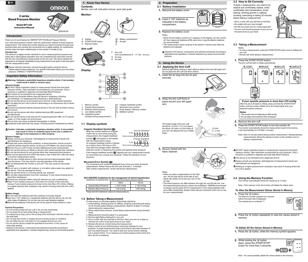 Omron BP710 Instructions
