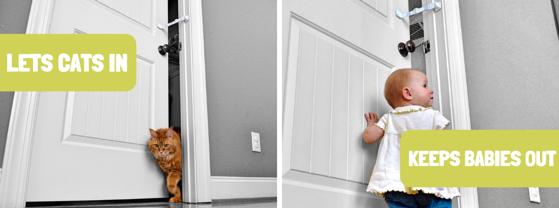 Baby Proof Doors with Door Buddy. Easier than Baby Gate with Cat Door