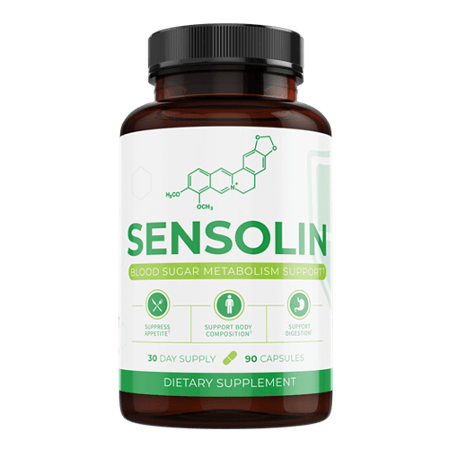 Front view of Sensolin supplement bottle