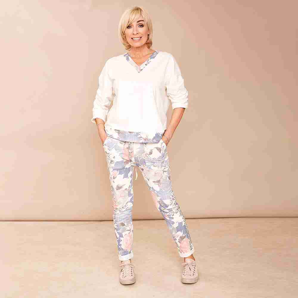 Milly Floral Joggers(Denim Blue)