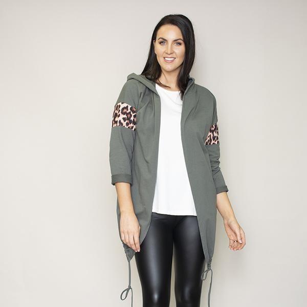 Rosie Leopard Hoody (Khaki)