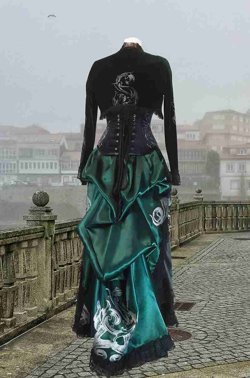 back view of the Potion Mistress victorian bustle skirt made in rich dark slytherin fan approved green satin