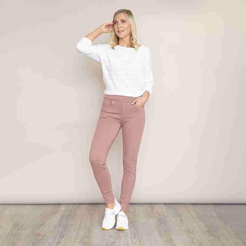 Ann Stretch Waist Trousers(Dusty Rose Pink)