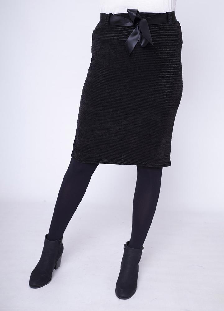 Velour Pencil Skirt in Black