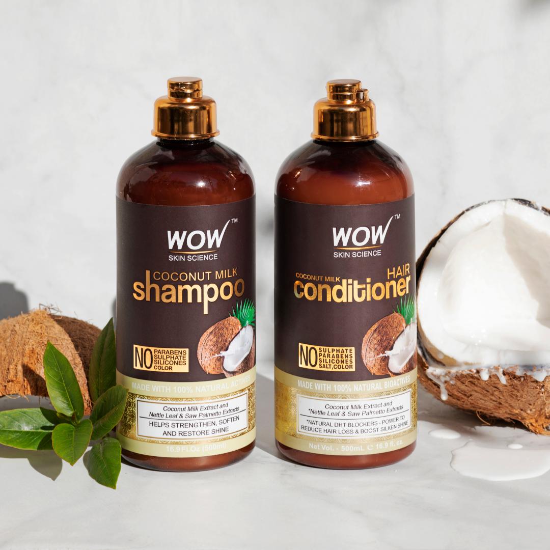 WOW Skin Science Coconut Milk Shampoo & Conditioner Pack (500ml/bottle)