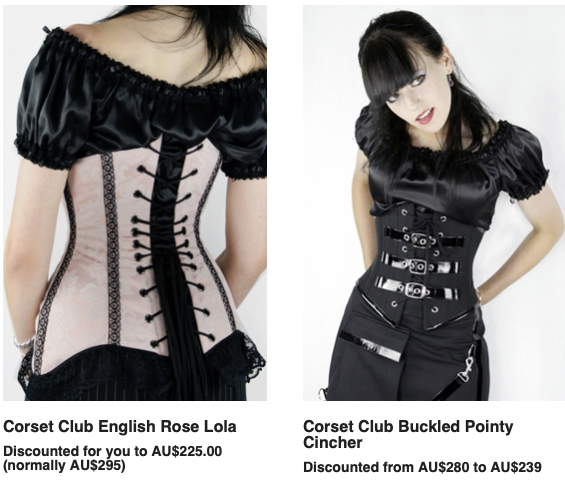 two classic Gallery Serpentine corsets, one pale pink brocade long line corset and one buckled pointy cinched
