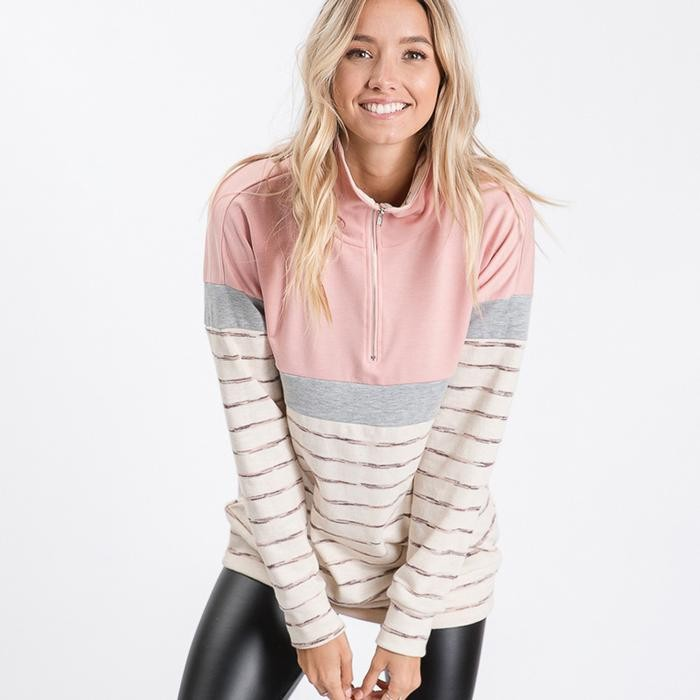 Cara Colour Block Zip Sweatshirt Pinke
