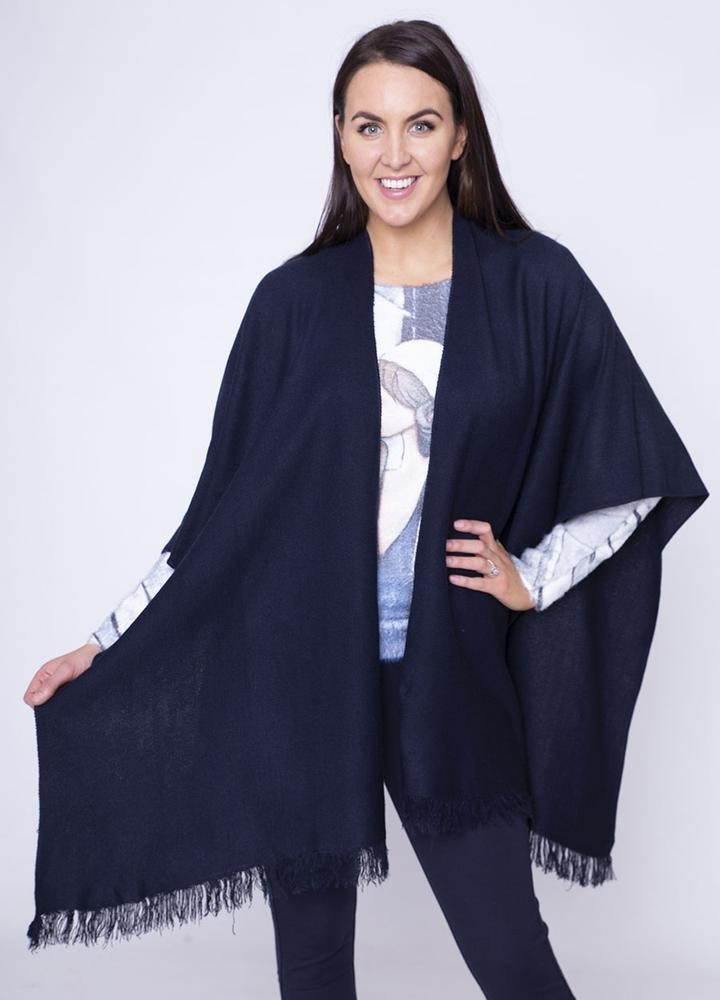 Frill Wrap Poncho in Navy