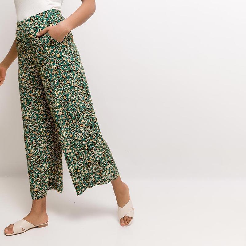 Louise Leopard Wide leg Trousers Green