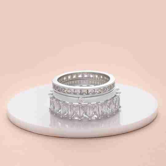 Sterling Forever engagement rings stacked