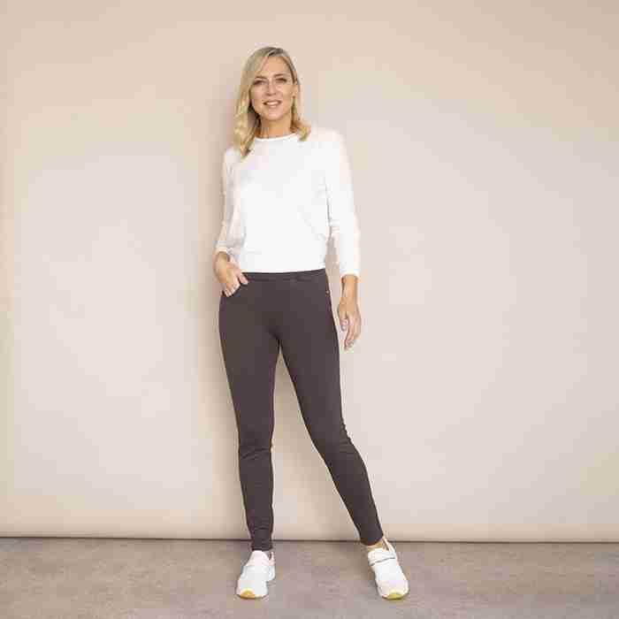 Ann's Stretch Waist Trousers(Khaki-Dark)