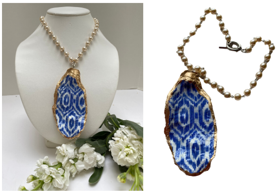 Blue and White Oyster Shell Necklace Pearl Chain link