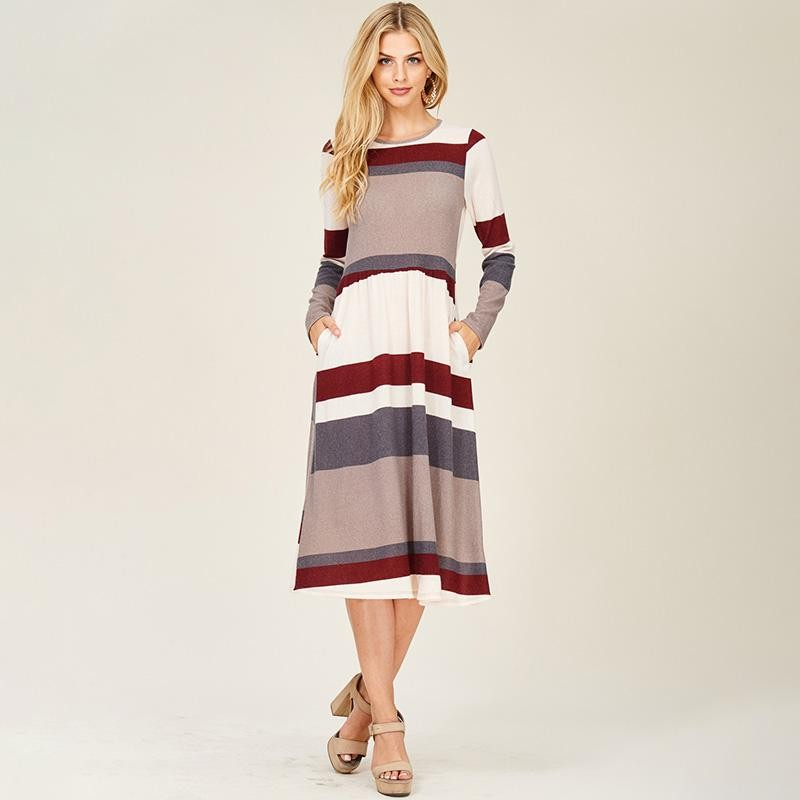 Ruby Stripe Midi Dress Burgundy
