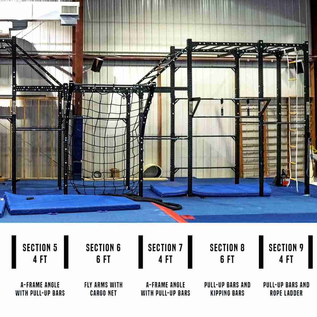 Assassin Ninja Rig module customization with pull-up bars, cargo net, rope ladder, kipping bars and more. Easily change and customize your rig