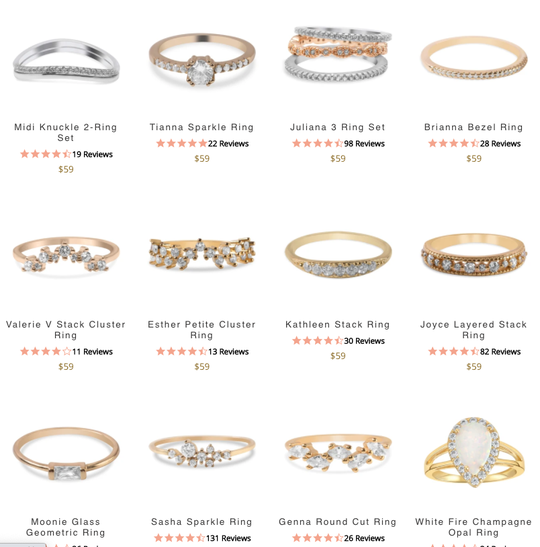 Blush and Bar Rings Collection